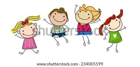 jumping happy kids - stock vector