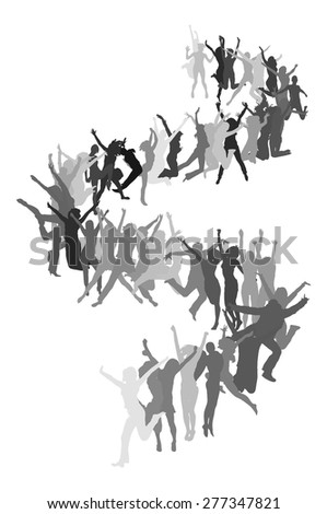 jumping in line - stock vector