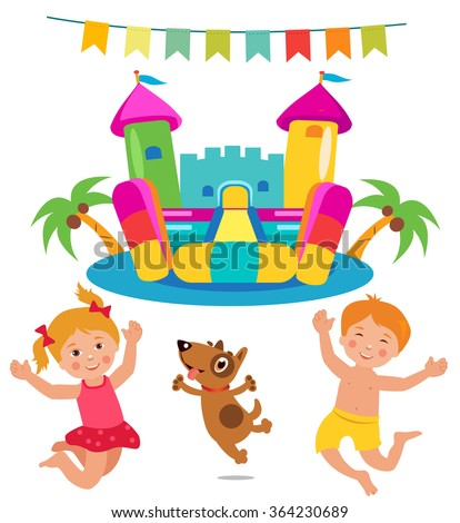 Jumping Kids And Dog And Bouncy Castle Set. Cartoon Illustrations On A White Background. Bouncy Castle Rental. Bouncy Castle For Sale. Bouncy Castle Commercial. Bouncy Castle For Kids. Castle Fun. - stock vector