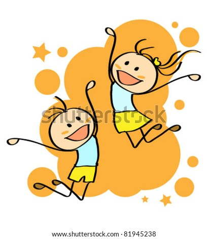 Jumping kids on orange background - stock vector