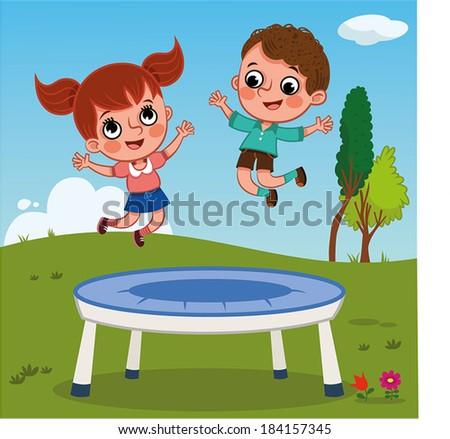 Jumping Kids-Outdoor - stock vector