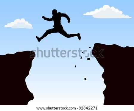 jumping man against blue sky. - stock vector