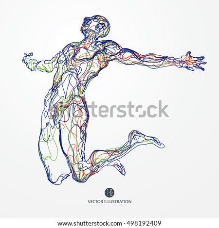 Jumping man, colored lines drawing, vector illustration.