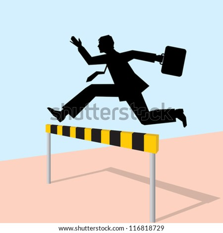 jumping man with bag - stock vector