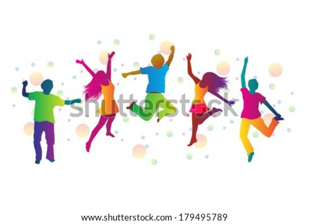 jumping people in bright clothes and colored spots  - stock vector