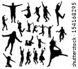 Jumping people silhouettes - stock