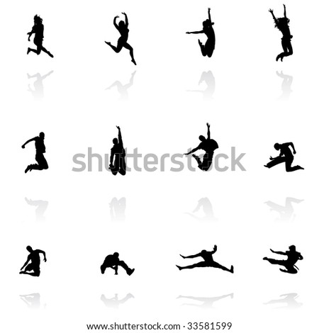 jumping people silhouettes with reflection, vector illustration