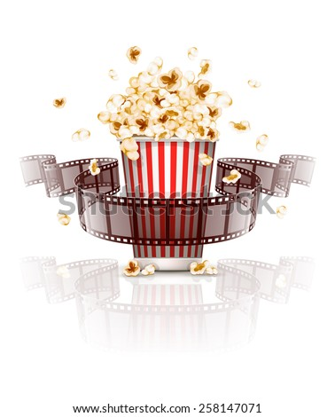 Jumping popcorn and film-strip film. Eps10 vector illustration. Isolated on white background - stock vector