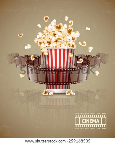 Jumping popcorn and movie film tape. Eps10 vector illustration. Isolated on white background - stock vector