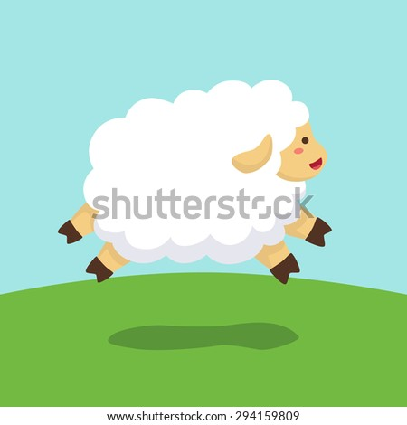 Jumping Sheep in Field Background