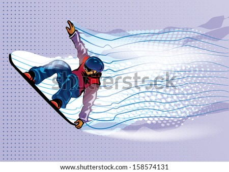 Jumping snowboarder. Motion in air. Vector illustration - stock vector