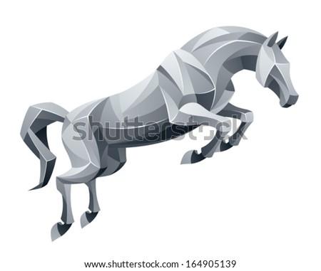 Jumping stallion - stock vector