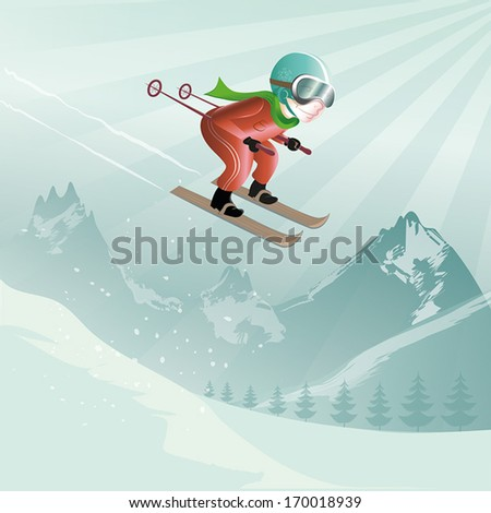 jumping with skis in the high mountains - stock vector