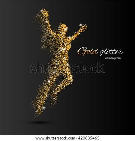 Jumping Woman in the Form of Gold Particles on Black