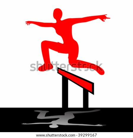 jumping woman, vector art illustration; more drawings in my gallery