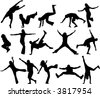 Jumps of people - stock vector