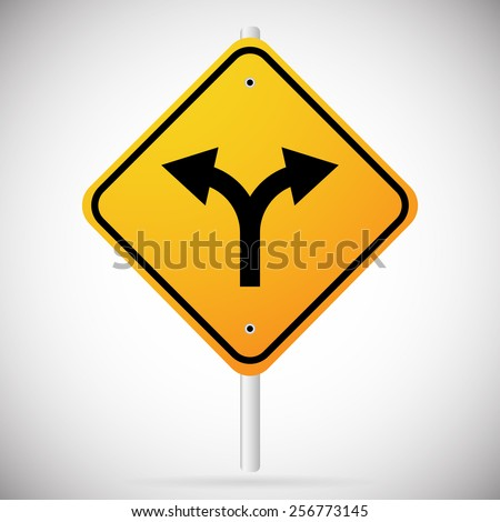 Junction Road Sign - Separation, Two paths, two ways. Vector Illustration. - stock vector