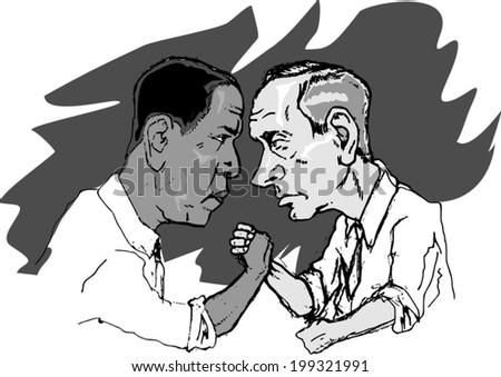 June 18, 2014: A vector illustration of a portrait of President Obama against Vladimir Putin armwrestling - stock vector