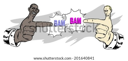 June 30, 2014: A vector illustration of a portrait of President Obama and Vladimir Putin  - stock vector