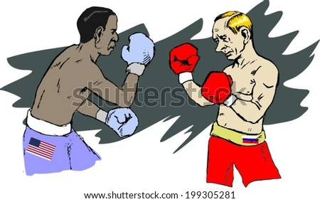 June 18, 2014: A vector illustration of a portrait of President Obama and Vladimir Putin boxing - stock vector