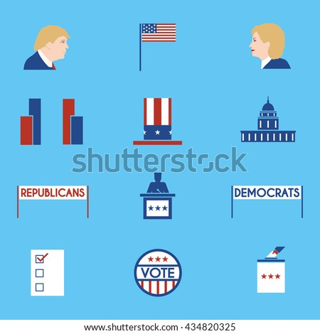 June 5, 2016: A vector illustration of politics, voting and elections icons set with portraits of Hillary Clinton and Donald Trump - stock vector