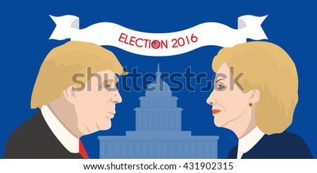 June 5, 2016: A vector illustration showing Democrat presidential candidate Hillary Clinton and Republican presidential candidate Donald Trump on United States Capitol background - stock vector