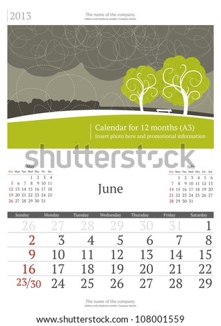 June. 2013 calendar. - stock vector