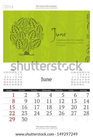 June. 2014 Calendar.  - stock vector