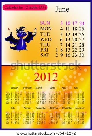 June. 2012 Calendar.Dark blue dragon-New Year's a symbol of 2012. A3 - stock vector