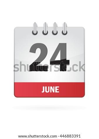 June Calendar Icon On White Background - stock vector