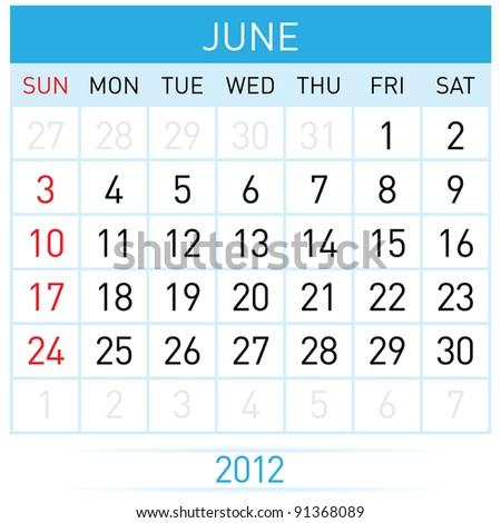 June Calendar. Illustration on white background for design - stock vector