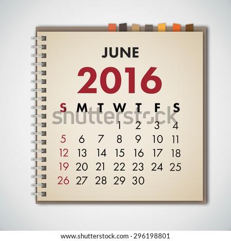 June 2016 Calendar Notebook Vector  - stock vector
