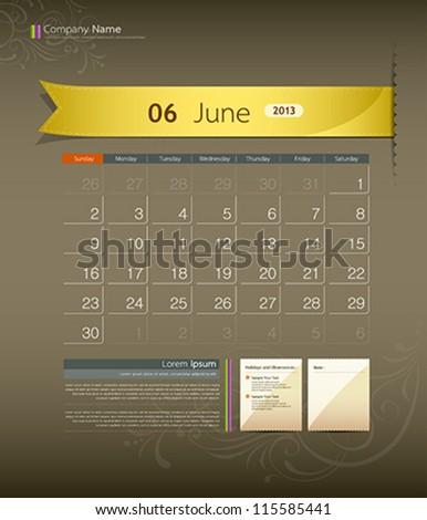 June 2013 calendar ribbon design, vector illustration - stock vector