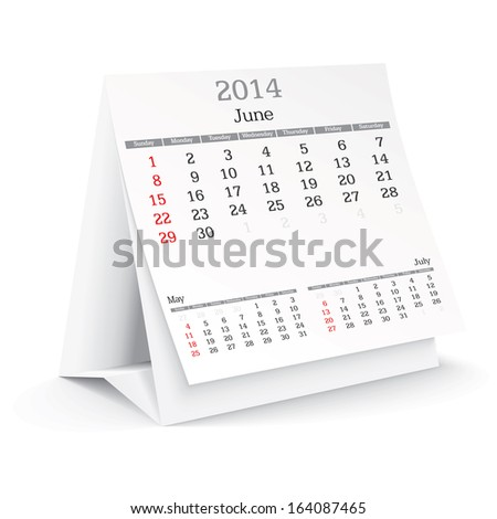 june 2014 - calendar - vector illustration