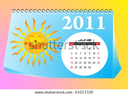 June desk calendar - stock vector