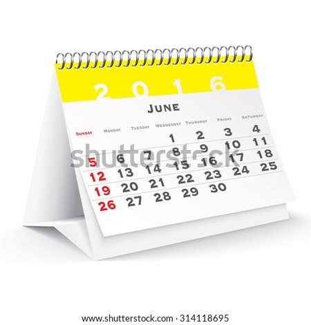 June 2016 desk calendar - vector illustration - stock vector