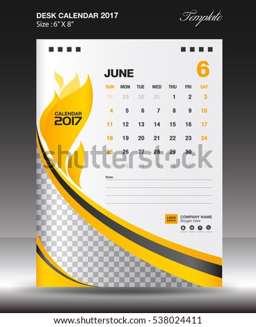 Wall Calendar  Vector Template Place Stock Vector