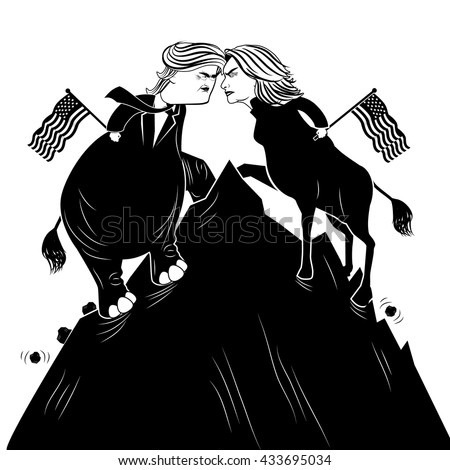 JUNE 8, 2016: Illustrative editorial cartoon of Democratic donkey Hillary Clinton and Republican elephant Donald Trump fighting to plant the American flag atop a mountain. EPS 10 vector.