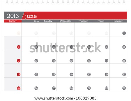 june 2013-planning calendar - stock vector