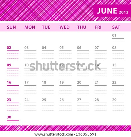 June 2013 planning calendar with space for notes. Checked pink texture in background. - stock vector