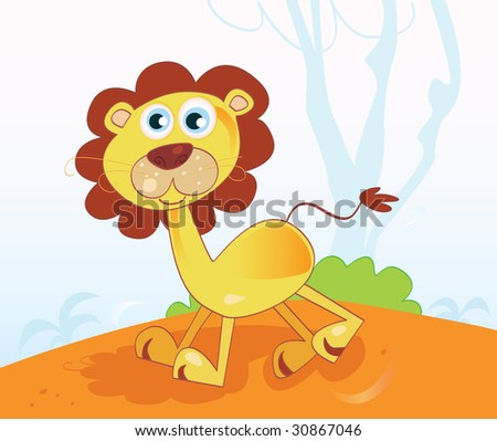 Jungle african lion. Safari animal in african jungle. Vector Illustration. - stock vector