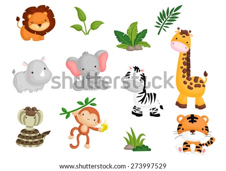 jungle animal vector set - stock vector