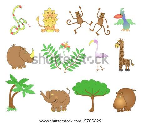 Jungle animals. - stock vector