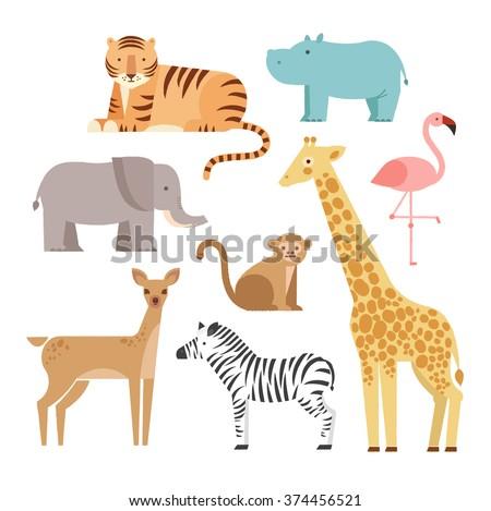 Jungle animals icons set  isolated on a white background. Vector illustration of cute animal set including monkey, giraffe, elephant, zebra, tiger, hippopotamus, antelope, deer and flamingo. - stock vector