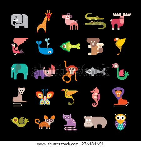 Jungle Animals. Set of colorful vector icons. Isolated on black background.  - stock vector