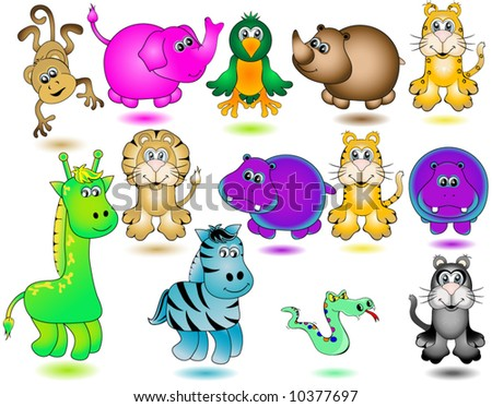 Jungle Animals Vector. - stock vector