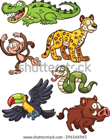 Jungle animals. Vector clip art illustration with simple gradients. Each on a separate layer. - stock vector