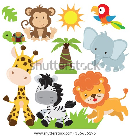 Jungle animals vector illustration - stock vector