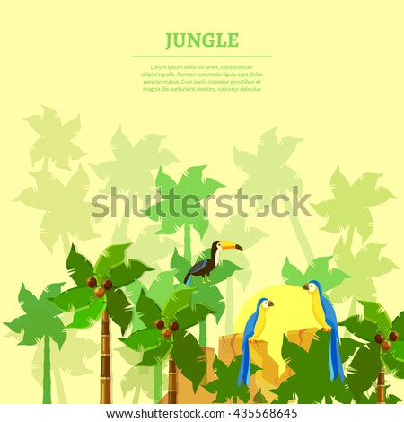 Jungle background beautiful jungle birds parrot toucan tropical forest vector illustration - stock vector