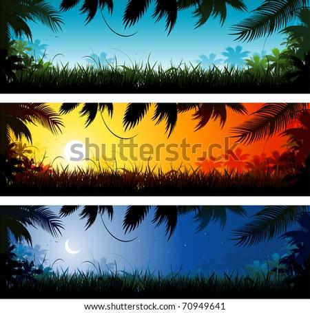 Jungle background landscape - stock vector